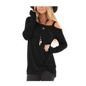 Black-A Comfy Casual Twist Knot Blouses